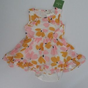 Kate Spade Paint Daub Floral Ruffle Hem Dress 18m